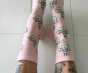 pink, socks, and tattoo image