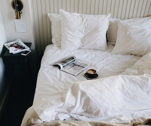 bed, bedroom, and coffee image