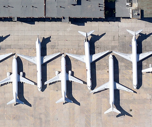 airplane, glow, and modern image