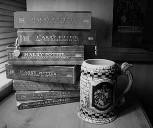 harry potter, black and white, and book image