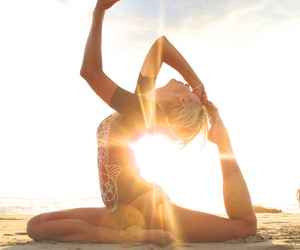 yoga, sun, and beach image
