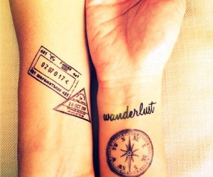 wanderlust, tattoo, and travel image