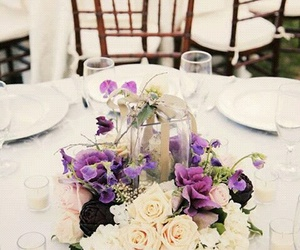 dinner, flowers, and wedding image