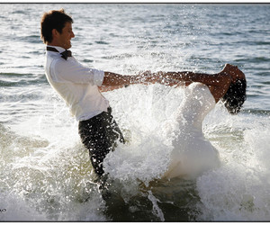 sea, couple, and dress image