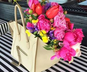 flowers, bag, and celine image