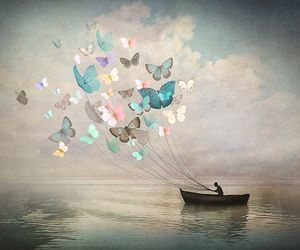 butterfly, art, and boat image