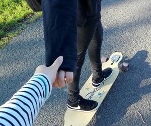 couple, longboard, and tumblr image