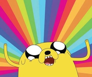 JAKe, adventure time, and rainbow image