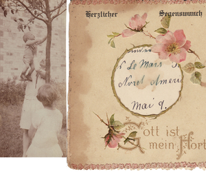 notes, photo, and vintage image