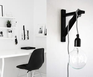 black and white, office space, and home decor image