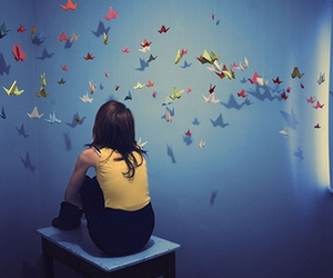 girl, bird, and origami image