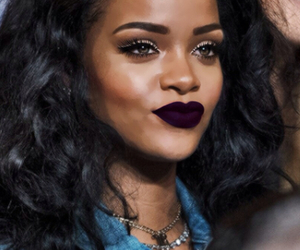 rihanna, black, and makeup image