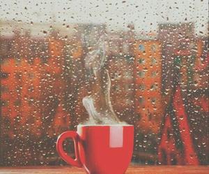 coffee, rain, and autumn image