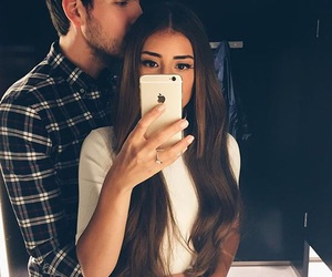 love, couple, and selfie image