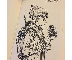 art, girl, and inktober image