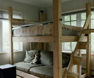 brown, bunkbed, and grew image
