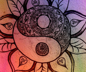 drawing, hippy, and mandala image