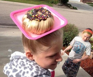 donut, girl, and hairstyle image
