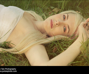blonde, blonde hair, and field image