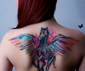 colorful, woman, and tattoo image