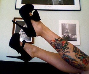 high heels, woman, and legs image