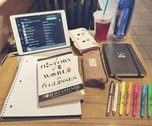 studying, book, and desk image