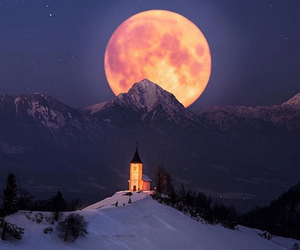 moon, winter, and mountains image