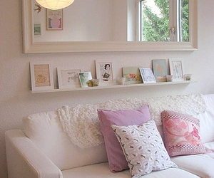 interior, mirror, and pillows image