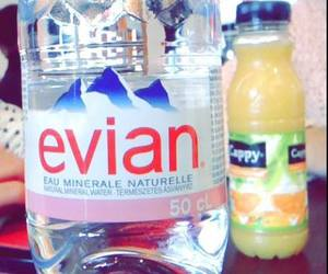 mineral water, evian, and orange image