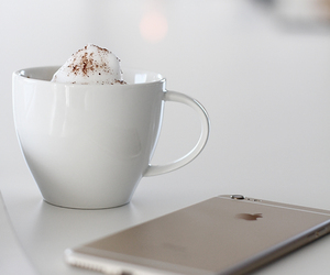 coffe, iphone, and white image