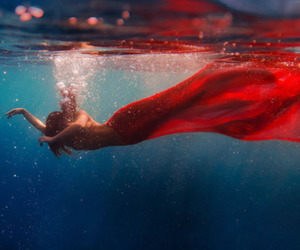 red, girl, and water image