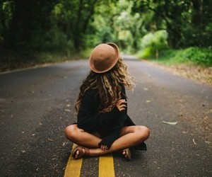 girl, hat, and road image