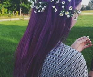 hair, purple hair, and flower crowns image