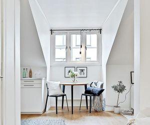 interior design, white walls, and attick room image
