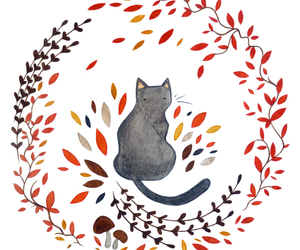 cat, art, and autumn image