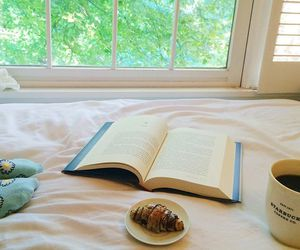 bed, food, and book image