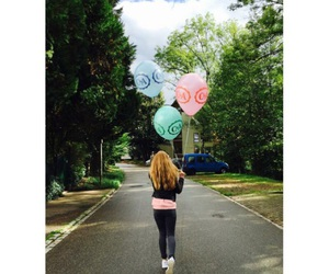 baloons, blue, and girl image