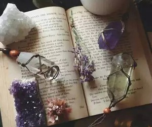 crystal, flower, and spells image
