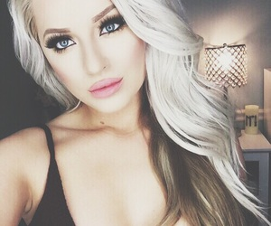 blonde, eyes, and lips image