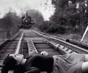 train, suicide, and sad image