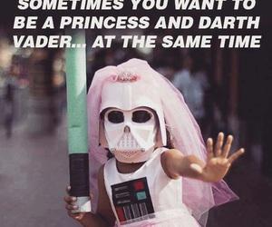 princess, darth vader, and funny image