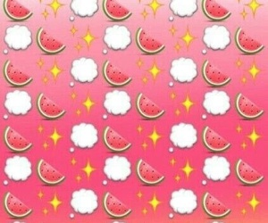 wallpaper, watermelon, and emoji image