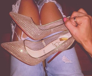 fashion, ripped jeans, and red bottoms image
