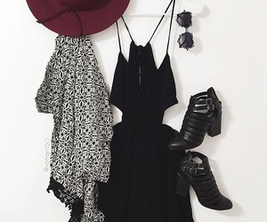 black and white, hat, and outfit image