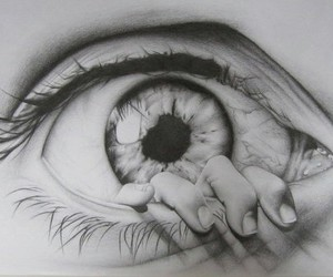 eye, drawing, and hand image
