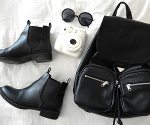 black, boots, and instax image