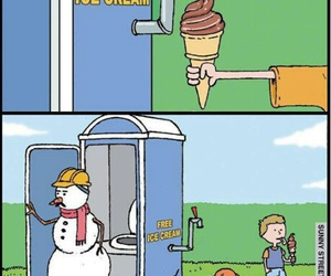 ice cream, funny, and snowman image
