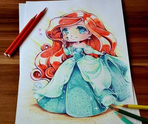 ariel, disney, and draw image