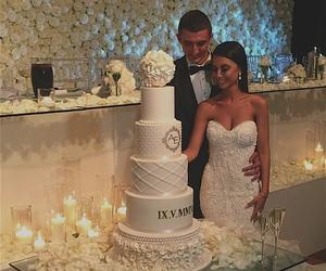 wedding, bride, and cake image
