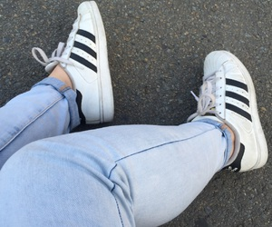 adidas, adidas superstar, and jeans image
